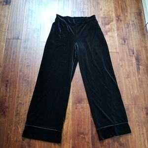 Soma Velour Pants  Lounge Sleepwear Black Sz S